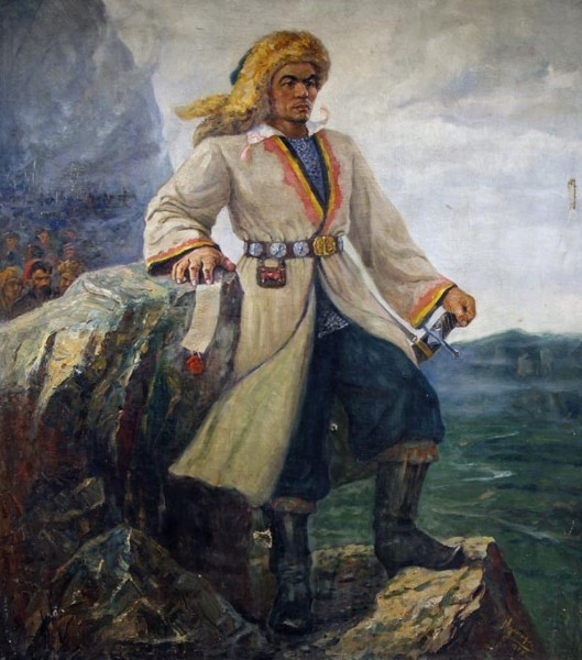 """Репродукция картины художника Г. Мустафина """"Салават Юлаев""""."""