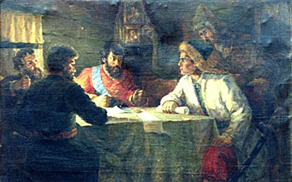Салават Юлаев в штабе Пугачева. Картина П.Я. Гаврилова